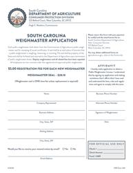 "CPD Form 315 ""South Carolina Weighmaster Application"" - South Carolina"