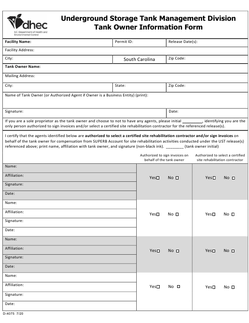 DHEC Form 4075 Printable Pdf