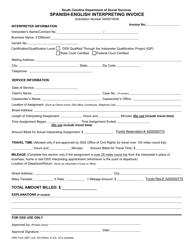 "DSS Form 2667 ""Spanish-English Interpreting Invoice"" - South Carolina"