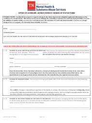"Form MH-4454 ""Office of Licensure: Agency/Service Change of Status Form"" - Tennessee"