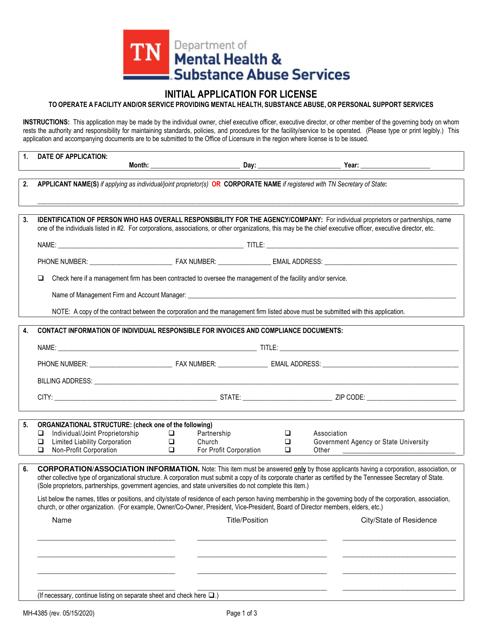 Form MH-4385  Printable Pdf