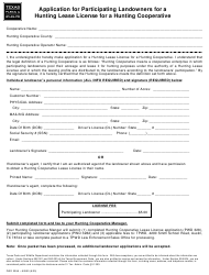 """Form PWD328A """"Application for Participating Landowners for a Hunting Lease License for a Hunting Cooperative"""" - Texas"""