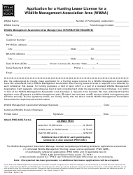 """Form PWD328B """"Application for a Hunting Lease License for a Wildlife Management Association Area (Wmaa)"""" - Texas"""