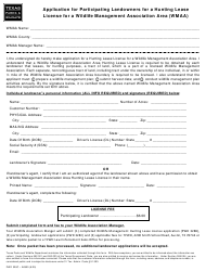"""Form PWD328C """"Application for Participating Landowners for a Hunting Lease License for a Wildlife Management Association Area (Wmaa)"""" - Texas"""