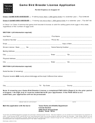 "Form PWD884 ""Game Bird Breeder License Application"" - Texas"