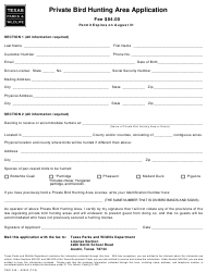 """Form PWD348 """"Private Bird Hunting Area Application"""" - Texas"""