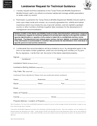 """Form PWD-153 """"Landowner Request for Technical Guidance"""" - Texas"""
