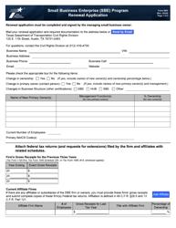 "Form 2063 ""Small Business Enterprise (Sbe) Program Renewal Application"" - Texas"