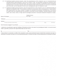 """Form ST-11 """"Sales and Use Tax Certificate of Exemption"""" - Virginia, Page 2"""