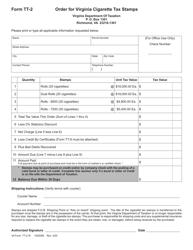 "Form TT-2 ""Order for Virginia Cigarette Tax Stamps"" - Virginia"