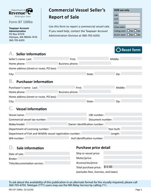 Form REV87 1006E Printable Pdf