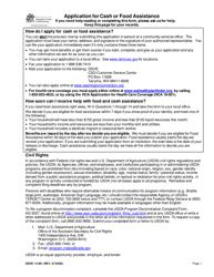 """DSHS Form 14-001 """"Application for Cash or Food Assistance"""" - Washington"""