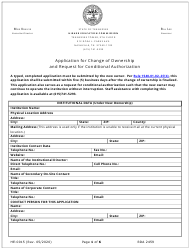 """Form HE-0015 """"Application for Change of Ownership and Request for Conditional Authorization"""" - Tennessee"""