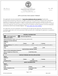 """Form HE-0014 """"Application for Agent Permit"""" - Tennessee"""
