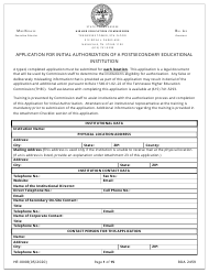 """Form HE-0008 """"Application for Initial Authorization of a Postsecondary Educational Institution"""" - Tennessee"""