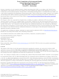 """Form OP-1 (TCEQ-10002) """"Site Information Summary"""" - Texas"""