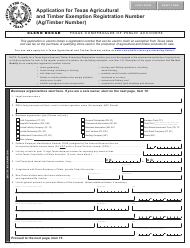 "Form AP-228 ""Application for Texas Agricultural and Timber Exemption Registration Number (Ag/Timber Number)"" - Texas"