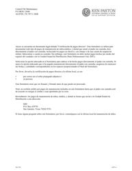 """Formulario 1A007-NS """"Certificacion De Pagos Directos Del Padre Sin Custodia"""" - Texas (Spanish)"""