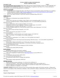 """""""Utah Accident & Health Insurance Filing Certification"""" - Utah"""