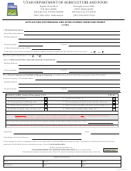 """""""Application for Bedding and Upholstered Furniture Permit (1101)"""" - Utah"""