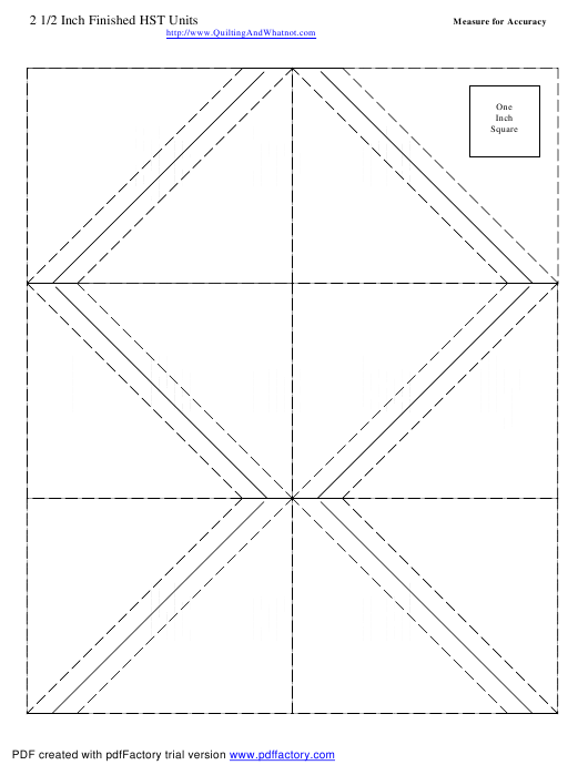 """""""2 1/2 Inch Finished Half Square Triangle Units Template"""" Download Pdf"""