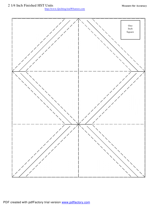 2 1/4 Inch Finished Half Square Triangle Units Template Download Pdf