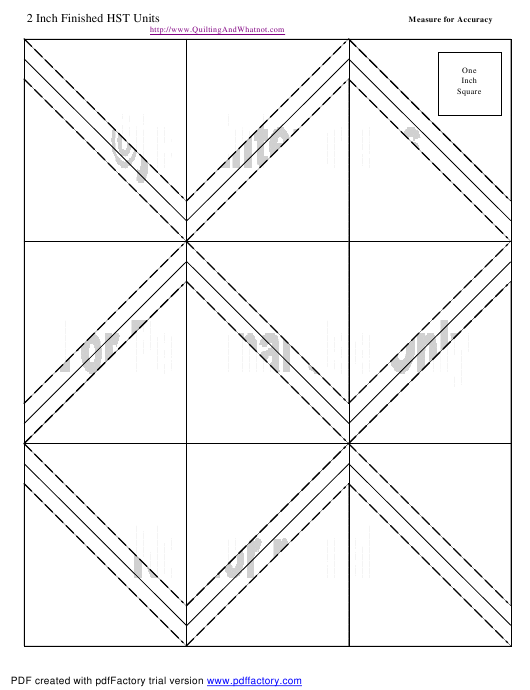 """""""2 Inch Finished Half Square Triangle Units Template"""" Download Pdf"""