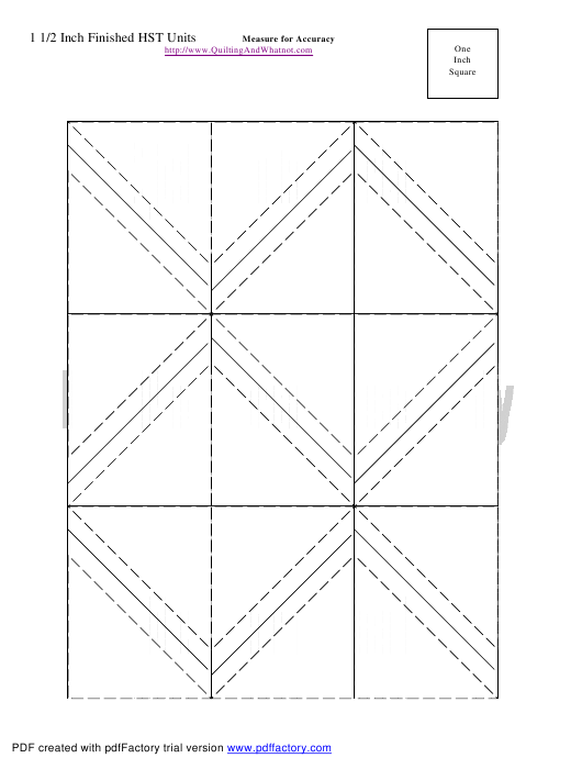 """""""1 1/2 Inch Finished Half Square Triangle Units Template"""" Download Pdf"""