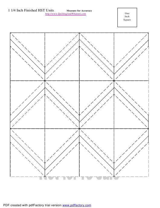 """1 1/4 Inch Finished Half Square Triangle Units Template"" Download Pdf"