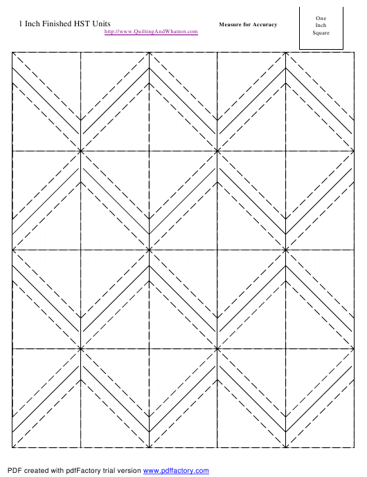 """""""1 Inch Finished Half Square Triangle Units Template"""" Download Pdf"""