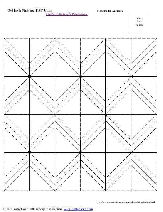 """3/4 Inch Finished Half Square Triangle Units Template"" Download Pdf"