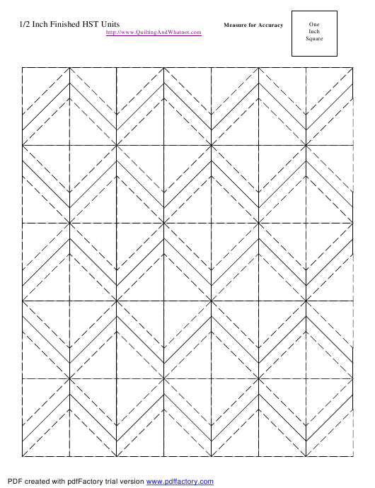 """1/2 Inch Finished Half Square Triangle Units Template"" Download Pdf"