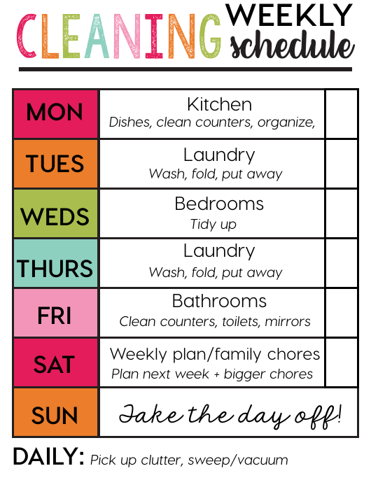 """""""Weekly Cleaning Schedule Template"""" Download Pdf"""