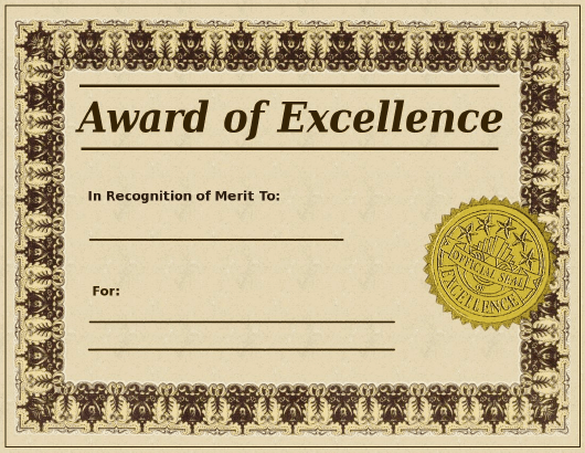 """""""Certificate of Excellence Template"""" Download Pdf"""