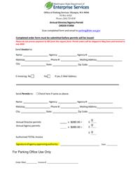 """""""Annual Director/Agency Permit Order Form"""" - Washington"""
