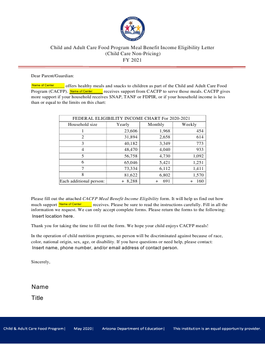 """""""Child and Adult Care Food Program Meal Benefit Income Eligibility Letter (Child Care Non-pricing)"""" - Arizona Download Pdf"""