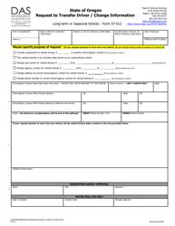 "Form 07-012 ""Request to Transfer Driver / Change Information"" - Oregon"