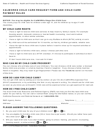 "Form CCP7 ""Calworks Child Care Request Form and Child Care Payment Rules"" - California"