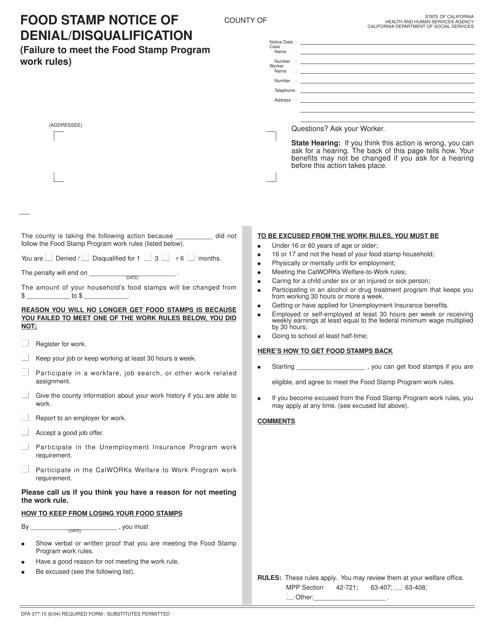Form DFA377.10  Printable Pdf