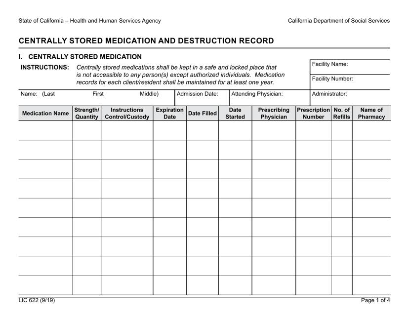 Form LIC622  Printable Pdf