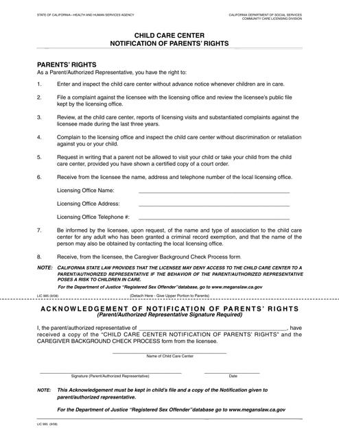Form LIC995  Printable Pdf