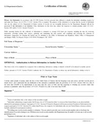 "Form DOJ-361 ""Certification of Identity"""
