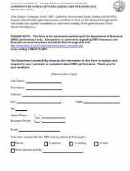 "Form DBO-803 ""Comments or Complaints Regarding Dbo Performance"" - California"