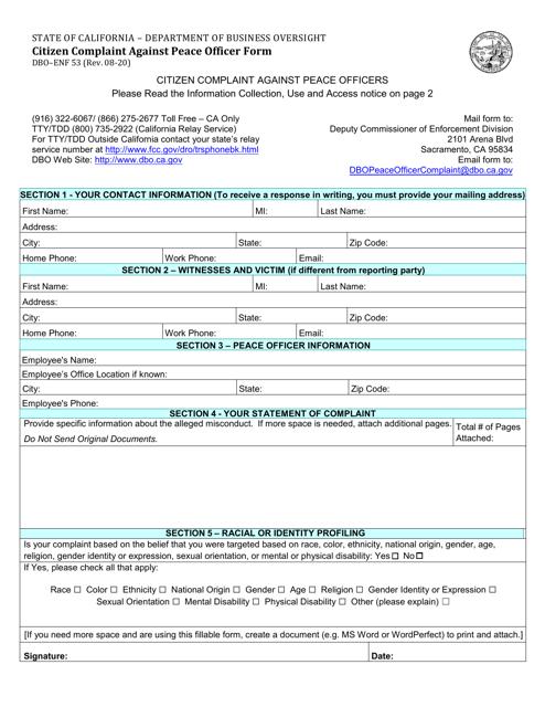 Form DBO-ENF53 Printable Pdf