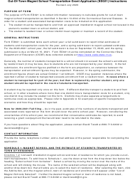 """Instructions for Form ED021 """"Out-Of-Town Magnet School Transportation Grant Application"""" - Connecticut"""
