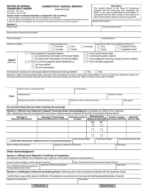 Form JD-ES-38  Printable Pdf