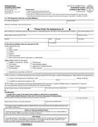 """Form JD-JM-13 """"Appearance - Juvenile Matters"""" - Connecticut"""
