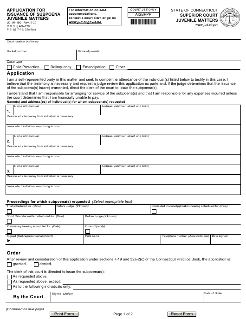 Form JD-JM-150 2020 Printable Pdf