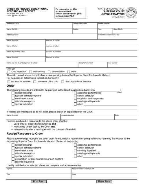 Form JD-JM-178 Printable Pdf