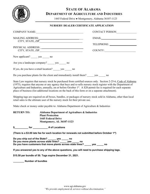 """Nursery Dealer Certificate Application"" - Alabama Download Pdf"